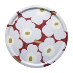 Pieni Unikko tray, dark red - light grey - off white