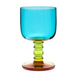 Socks rolled down stemware, turquoise