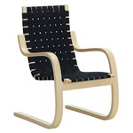 Aalto armchair 406, birch - black/blue webbing