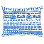 Yö metsässä interior pillow, large, white-blue