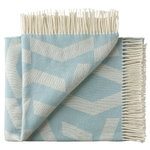 Silkeborg Uldspinderi Dashes throw, white - blue