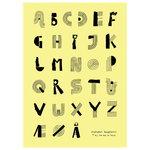 Alphabet spaghetti poster, 50 x 70 cm, yellow