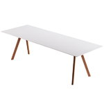 CPH30 table, lacquered oak - off white lino