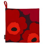 Pieni Unikko pot holder, red-orange-plum
