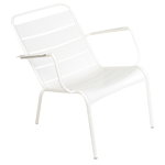 Luxembourg low armchair, cotton white