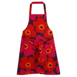 Pieni Unikko apron, red - orange - plum