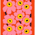 Unikko batiste fabric, orange - pink - yellow