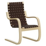 Aalto armchair 406, birch - black/brown webbing