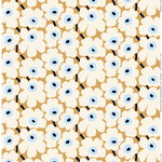 Pieni Unikko fabric, beige - off white - blue