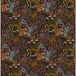 Letto fabric, dark green-brown-peach