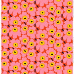 Pieni Unikko   fabric, orange - pink - yellow