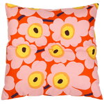 Pieni Unikko  floor cushion, orange - pink - yellow