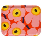 Pieni Unikko tray, orange - pink - yellow