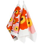 Unikko tea towel, 2 pcs, white - orange - pink