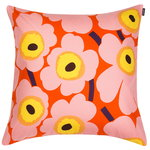 Pieni Unikko  cushion cover 50 x 50 cm, orange - pink - yellow