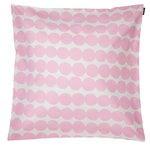 Räsymatto tyynynpäällinen 50 x 50 cm, valkoinen-vaaleanpunainen