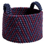 Hay Bead basket with handles, 40 cm, burgundy chevron