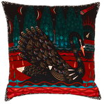 Black Swan cushion cover, velvet
