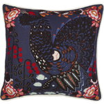 Grouse in the Woods cushion cover, linen-cotton, blue