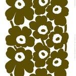 Marimekko Tessuto in cotone pesante Unikko, colorante in eccesso - bianco