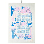 Calendar 2018 tea towel, pink