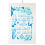 Calendar 2018 tea towel, blue