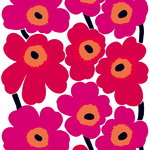 Unikko fabric, red