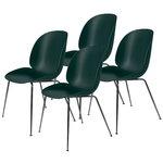 Gubi Beetle tuoli, musta kromi - vihreä, 4 kpl setti