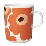 Marimekko Oiva - Unikko mug 2,5 dl, white - orange - brown