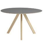 Hay CPH20 pyöreä pöytä 120 cm, mattalakattu tammi - harmaa lino