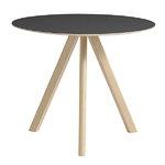 Hay CPH20 pyöreä pöytä 90 cm, mattalak. tammi - musta lino, PU lakka