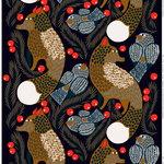 Marimekko Ketunmarja fabric, dark blue - brown