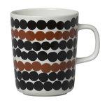 Marimekko Oiva - Siirtolapuutarha Räsymatto mug 2,5 dl, brown-black