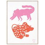 MADO Two Creatures juliste, 50 x 70 cm, pinkki - punainen