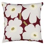 Marimekko Pieni Unikko cushion cover 45 x 45 cm, dark red-light grey-white