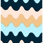 Marimekko Lokki kangas, sininen - beige