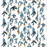 Marimekko Hyhmä heavyweight cotton fabric, white - blue - orange