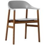 Normann Copenhagen Herit tuoli käsinojilla, savustettu tammi - harmaa