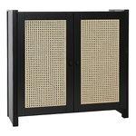 Lundia Classic cabinet w/ rattan doors, 84 x 79 cm, black lacquered