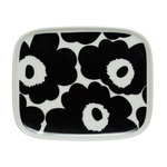 Marimekko Oiva - Unikko plate 15 x 12 cm, white - black