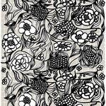 Marimekko Floristi panamakangas, vaaleanharmaa - musta - valkoinen