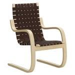 Artek Aalto armchair 406, birch - black/brown webbing