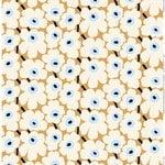 Marimekko Pieni Unikko kangas, beige-valkoinen-sininen