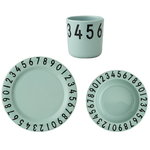 Design Letters The Numbers melamine gift set, green