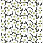 Marimekko Pieni Unikko fabric, black - white - green