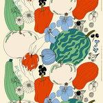 Marimekko Tarhuri puuvilla-pellavakangas, puuvilla-vihreä-pun.