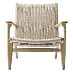 Carl Hansen & Søn CH25 lounge chair, white oiled oak - natural cord