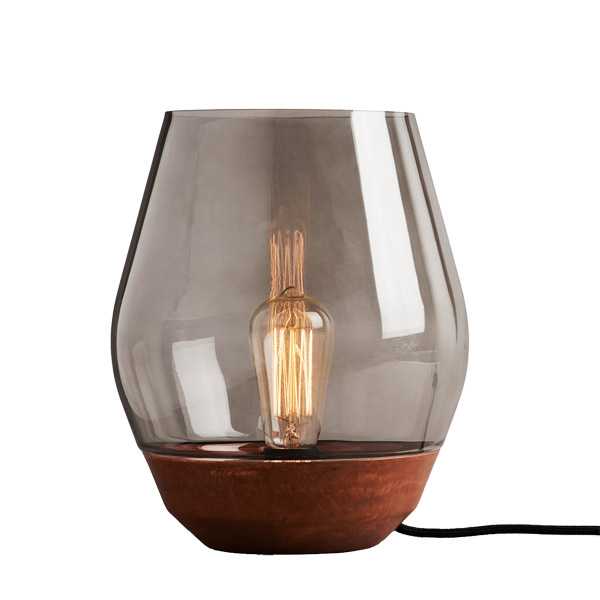New Works Bowl table lamp, raw copper - light smoked glass ...