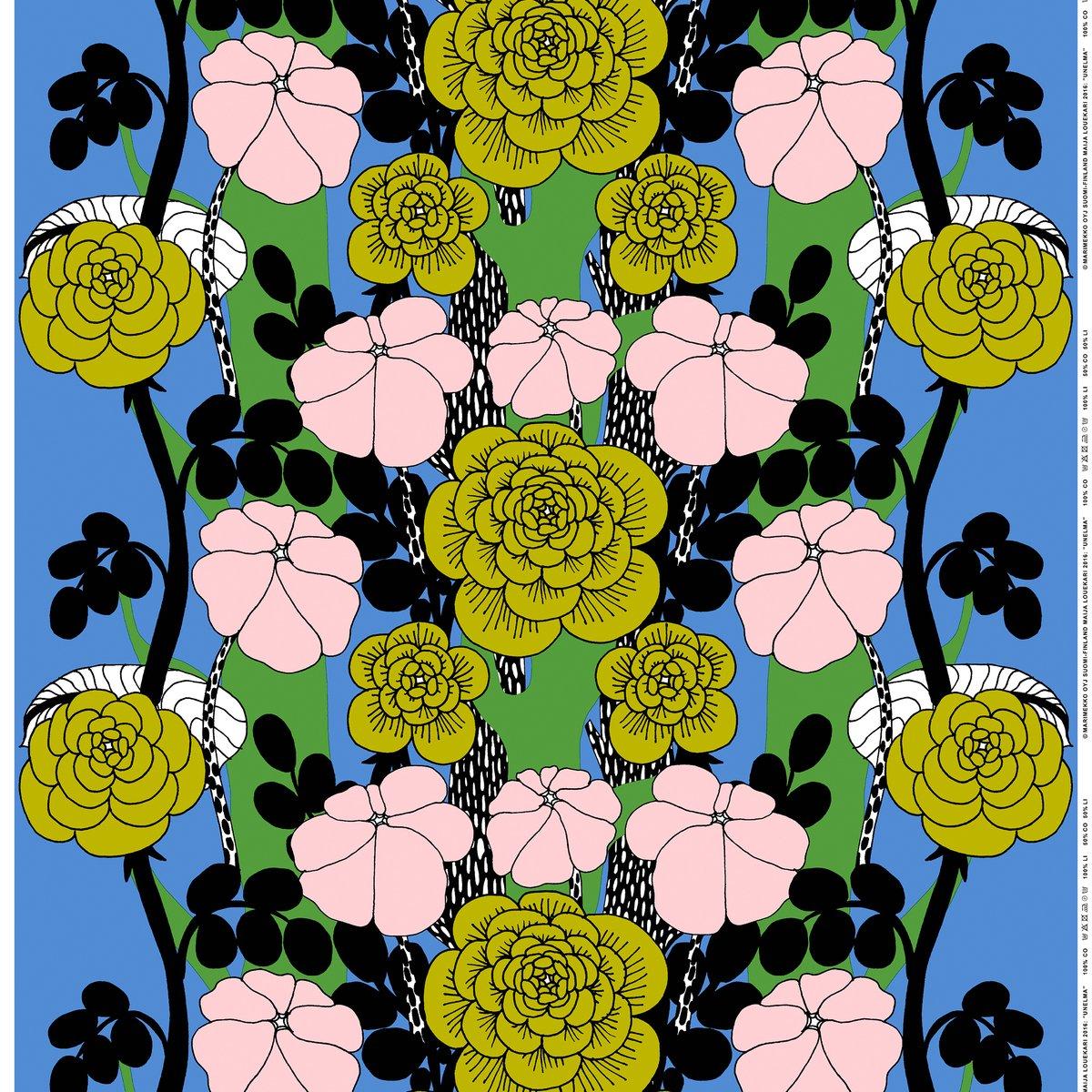 Marimekko Unelma Fabric Light Blue Green Pink Finnish