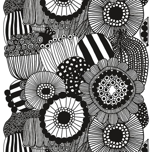 Marimekko Siirtolapuutarha fabric, black  white  Finnish